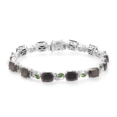 14.50 Ct Elite Shungite and Zircon Tennis Design Bracelet in Platinum Plated Silver 8 Inch