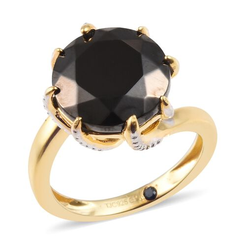 GP 4.15 Ct Elite Shungite and Blue Sapphire Solitaire Ring in 14K Gold Plated Silver