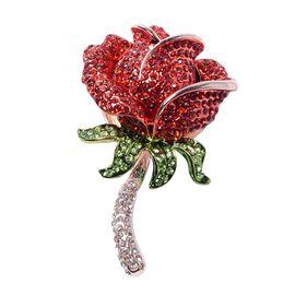Multi Colour Austrian Crystal Rose Design Brooch in Rose Tone