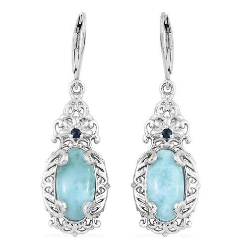 Larimar (Ovl), Kanchanaburi Blue Sapphire Lever Back Earrings in Platinum Overlay Sterling Silver 7.