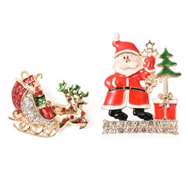 2 Piece Set - White and Red Austrian Crystal (Rnd) Christmas Theme Enamelled Brooch in Yellow Gold T