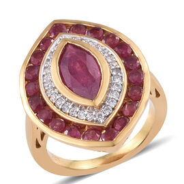4 Carat African Ruby and Cambodian Zircon Double Halo Ring in Sterling Silver 6.27 Grams