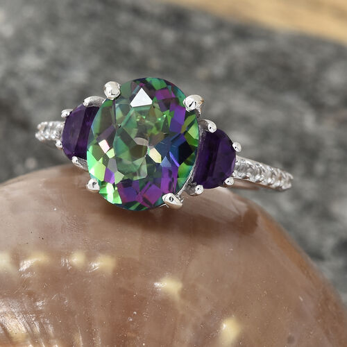 Mystic Green Topaz (Ovl 4.05 Ct), Amethyst and White Topaz Ring in Platinum Overlay Sterling Silver 4.750 Ct.