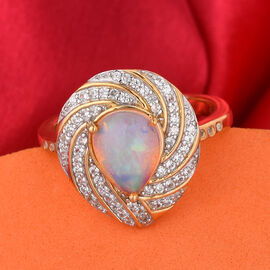GP Ethiopian Welo Opal and Natural Cambodian Zircon and Blue Sapphire Ring in 14K Gold Overlay Sterling Silver