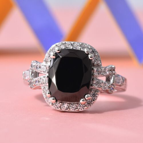 Elite Shungite (2.00 Ct), Natural Cambodian Zircon Ring in Platinum Overlay Sterling Silver 2.67 Ct.
