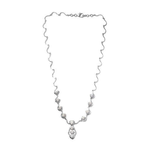 J Francis Platinum Overlay Sterling Silver Necklace (Size 18) Made with SWAROVSKI ZIRCONIA, Silver w