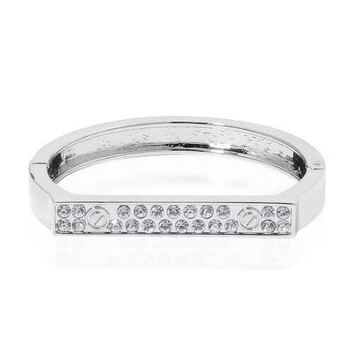 Designer Inspired - White Austrian Crystal Bangle (Size 7) in Silver Tone
