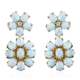 Larimar (Ovl), Natural Cambodian Zircon Flower Earrings (with Push Back) in 14K Gold Overlay Sterlin