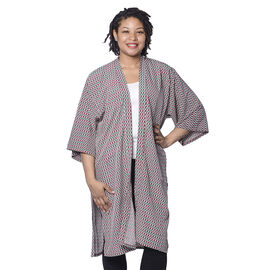 Brown and Green Pattern Duster Long Kimono (Size upto 24)