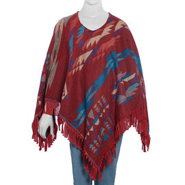 Hand Embroidered Adda Work Red and Multi Colour Poncho Size 79x57 cm