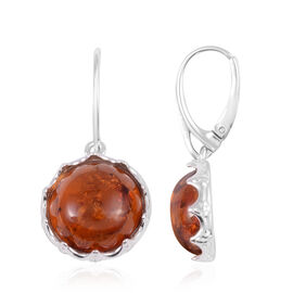 Amber Solitaire Drop Earrings in Rhodium Plated Sterling Silver with Lever Back