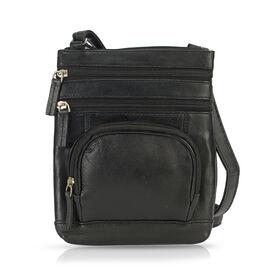 100% Genuine Leather Multi Pocket Sling Bag - Black