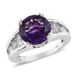 5 Carat Moroccan Amethyst and White Topaz Solitaire Design Ring in Platinum Plated Sterling Silver
