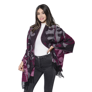 LA MAREY Super Soft 100% Lambswool Jacquard Purple and Grey Abstract Pattern Shawl with Tassels (175