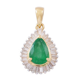 Limited Edition- Designer Inspired 9K Yellow Gold AAA Kagem Zambian Emerald (Pear 1.00 Ct), Natural White Cambodian Zircon Pendant 1.750 Ct.