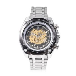 GENOA Automatic Movement Skeleton Water Resistant Watch with Chain Strap in Dual Tone