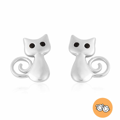 Children Kitty Earrings with Boi Ploi Black Spinel in Rhodium Plated Silver