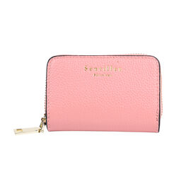 SENCILLEZ Genuine Leather RFID Protected Card Holder with Zipper Closure (Size 11x7x2.5 Cm) - Pink