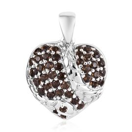 Brazilian Smoky Quartz (Rnd) Heart Pendant in Platinum Overlay Sterling Silver 1.00 Ct.