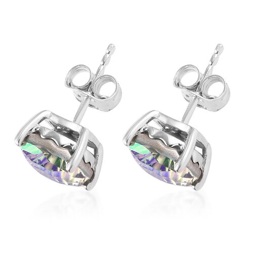 J Francis Crystal from Swarovski Paradise Shine Crystal Stud Earrings (with Push Back) in Platinum Overlay Sterling Silver