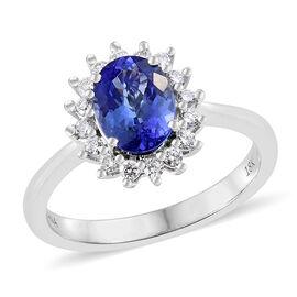 ILIANA 18K White Gold AAA Tanzanite (Ovl 1.350 Ct.), Diamond (SI/G-H) Flower Ring 1.550 Ct.