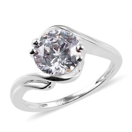 J Francis Made with SWAROVSKI ZIRCONIA Solitaire Bypass Ring in Sterling Silver