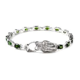 Russian Diopside (Ovl), White Topaz  Dragon Head Bracelet (Size 7.5) in Rhodium Overlay Sterling Sil