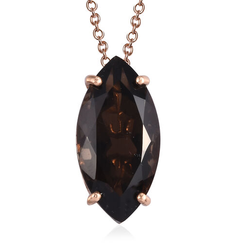 Smoky Quartz Pendant with Chain (Size 20) in Bronze Tone Stainless Steel 10.50 ct.