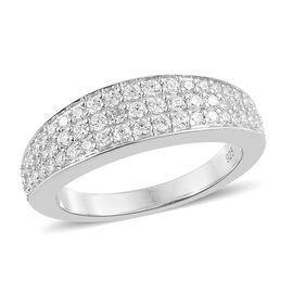 WEBEX- J Francis - Platinum Overlay Sterling Silver (Rnd) Half Eternity Ring Made with SWAROVSKI ZIRCONIA