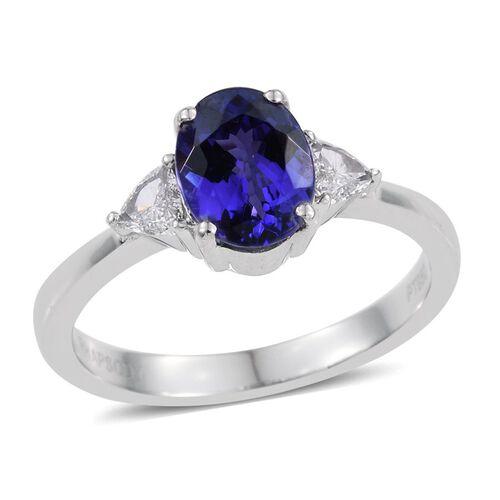 RHAPSODY 950 Platinum AAAA Tanzanite (Ovl 1.00 Ct.), Diamond (VS/E-F) Ring 1.150 Ct.