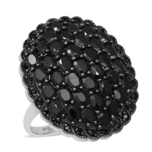 8.12 Ct Natural Boi Ploi Black Spinel Cluster Ring in Rhodium Plated Silver 8.38 grams
