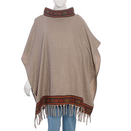 Hand Woven Traditional Kullu Weave Poncho with Woollen Border (Size 96.52x76 Cm) Khaki and Multi Col