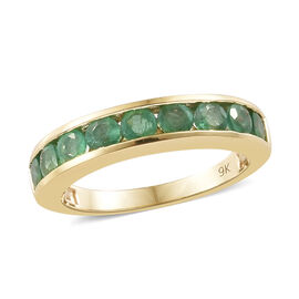 9K Yellow Gold AA Kagem Zambian Emerald (Rnd) Half Band Ring 1.000 Ct.