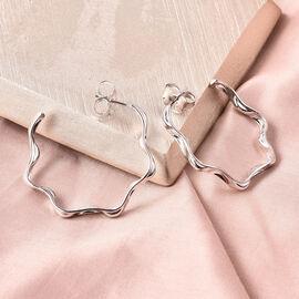 LucyQ J Hoop Earrings in Rhodium Sterling Silver
