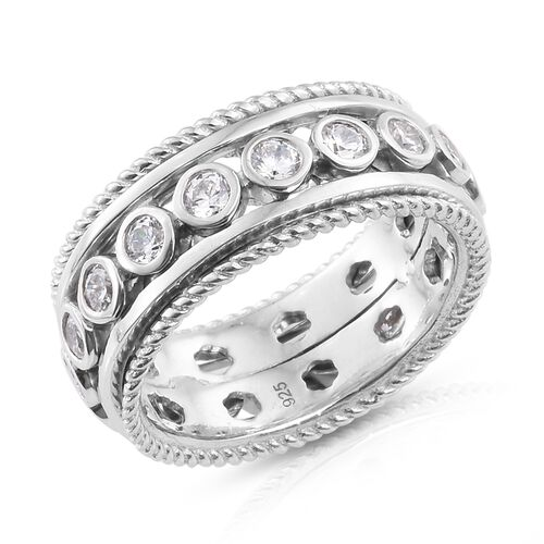 J Francis - Platinum Overlay Sterling Silver (Rnd) SPINNER Ring Made with SWAROVSKI ZIRCONIA.Silver