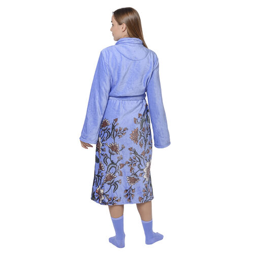 2 Piece Set - Flannel Floral Print Robe with Cotton Socks - Blue