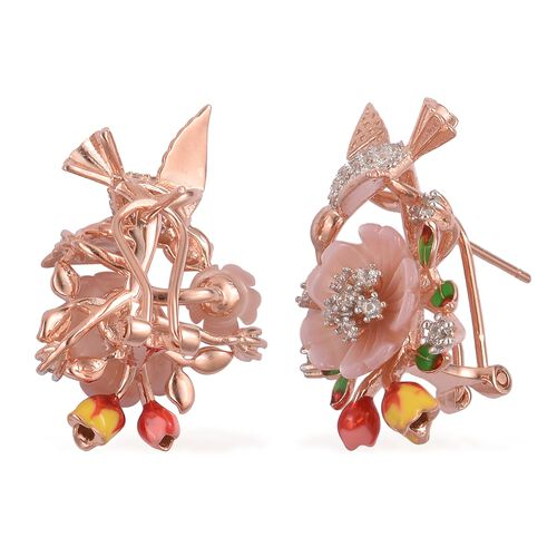 Jardin Collection - Pink Mother of Pearl and Natural White Cambodian Zircon Enameled Flower and Bird Earrings (with French Clip) in Rhodium and Rose Gold Overlay Sterling Silver