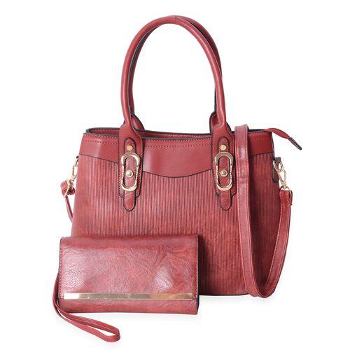 Set of 2- Burgundy Colour Satchel Bag (Size 32x25x14 Cm) and Wristlet Bag (Size 21x11x4.5 Cm) with Removable Shoulder Strap and External Zipper.