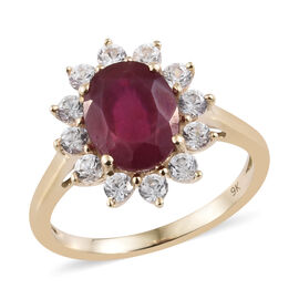 Designer Inspired 9K Yellow Gold AAA African Ruby (Ovl 9x7mm), Natural Cambodian White Zircon Floral Ring 4.500 Ct.