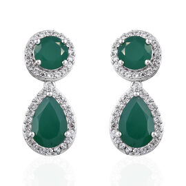 Verde Onyx (Rnd and Pear), Natural Cambodian Zircon Earrings (with Push Back) in Platinum Overlay St