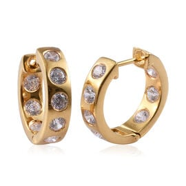 J Francis - 14K Gold Overlay Sterling Silver (Rnd) Hoop Earrings (with Clasp) Made with SWAROVSKI ZI
