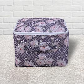 SERENITY NIGHT Chrysanthemum Pattern Storage Bag with Zipper Closure (Size:33x33x44Cm) - Grey
