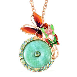 Green Quartzite and Green Magic Colour Crystal Enamelled Butterfly Pendant with Chain in Gold Tone