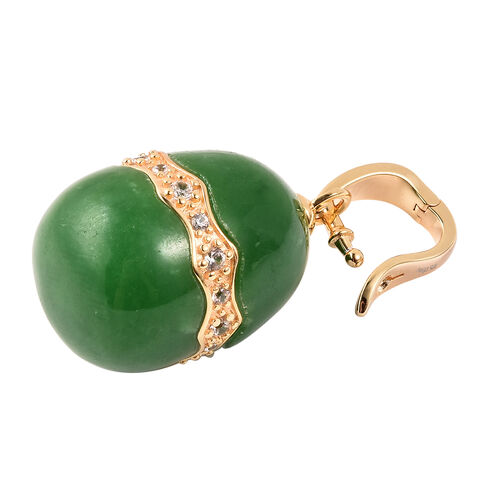 Green Jade and Natural Cambodian Zircon Pendant in Yellow Gold Overlay Sterling Silver 46.030  Ct.