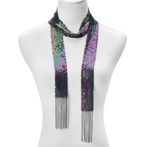 Glittering Multi Colour Scarf Style Necklace (Size 50) and Bracelet (Size 7.5 with 2 inch Extender) in Silver Tone