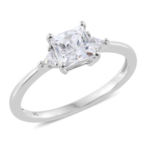 J Francis Made with SWAROVSKI ZIRCONIA Princess Cut Soliatire Ring in 9K White Gold
