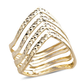 Diamond Cut Wishbone Ring in 9K Yellow Gold 2.40 Grams