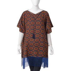 Red, Navy Blue and Multi Colour Poncho with Tassels (Size 80x75 Cm)