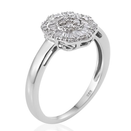 Diamond (Rnd and Bgt) Ballerina Ring in Platinum Overlay Sterling Silver 0.500 Ct.