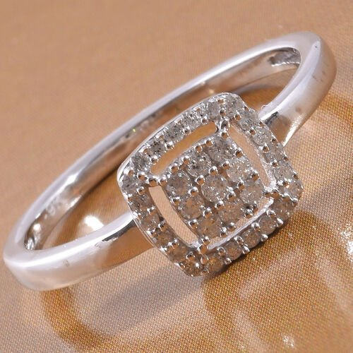9K White Gold SGL Certified Diamond (I3/G-H) Cluster Ring 0.20 Ct.
